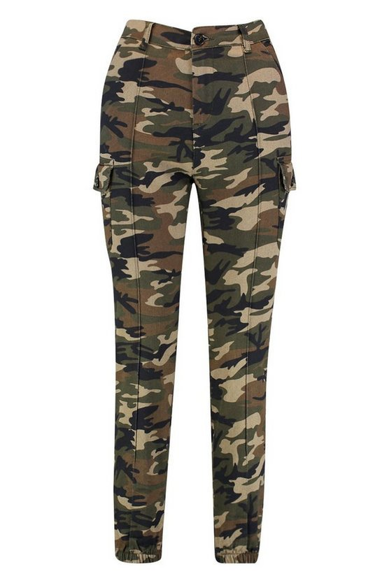 Camo Print Elasticated Hem Cargo Pants | Boohoo