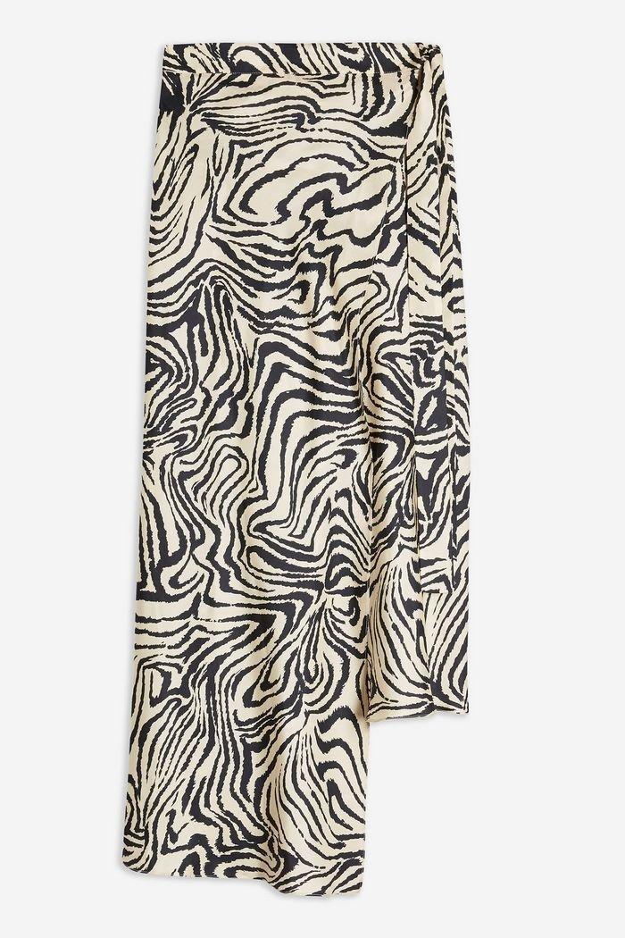 **Zebra Silk Bias Skirt by Boutique   Topshop White