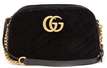 Gg Marmont Small Quilted Velvet Cross Body Bag - Womens - Black