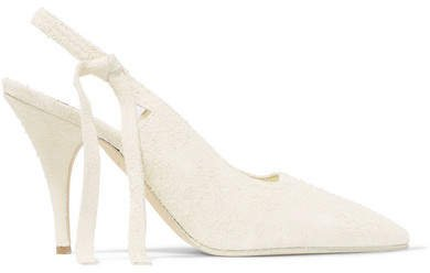 Dorothy Brushed-suede Slingback Pumps - White