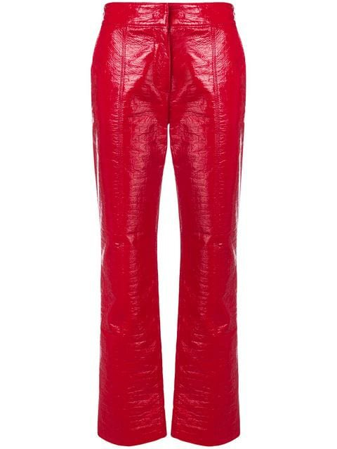 MSGM varnished straight leg trousers