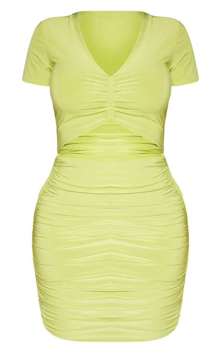 Shape Dark Lime Ruched Front Cut Out Bodycon Dress | PrettyLittleThing USA