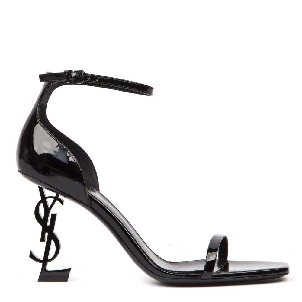 Saint Laurent Black Patent Leather Opyum Sandals
