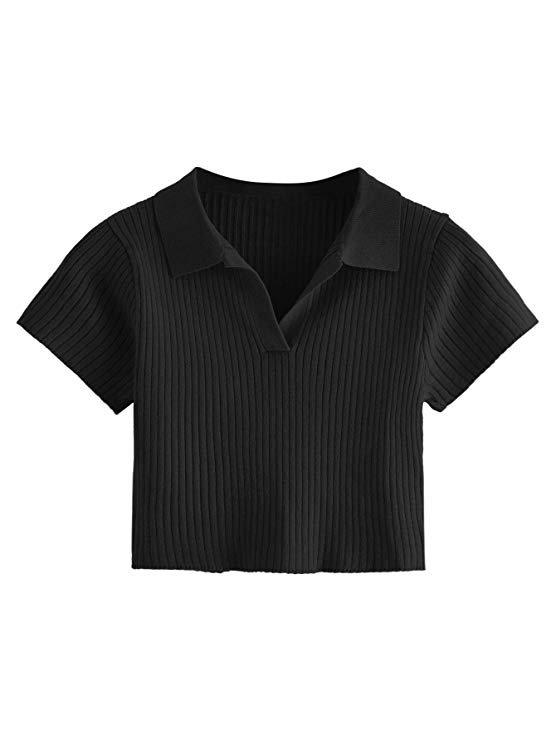 SweatyRocks Women's Collar Half Button Short Sleeve Striped Crop Top T-Shirts at Amazon Women's Clothing store
