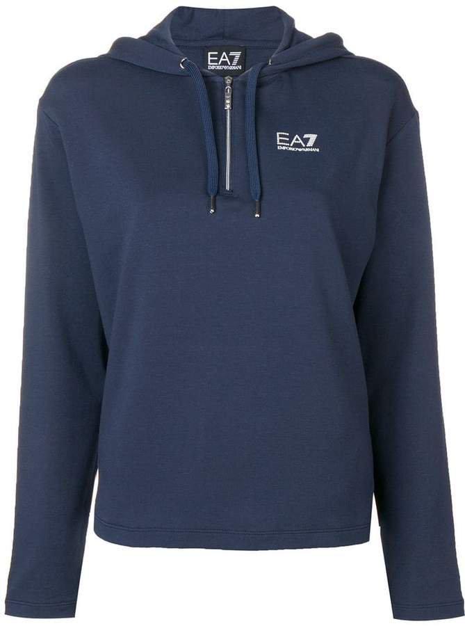 Ea7 logo print hoodie