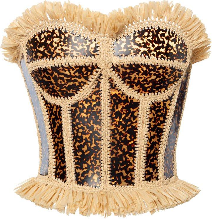 Dolce & Gabbana Printed Fringe-Trimmed Bustier Top Size: 36