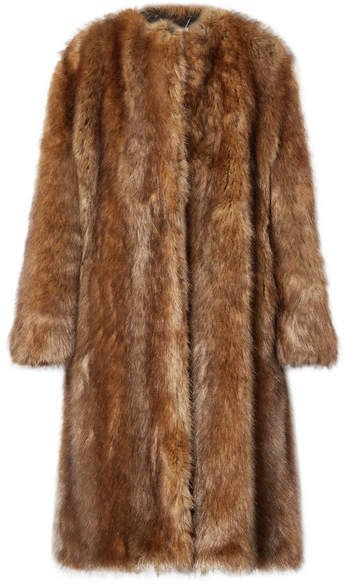 Faux Fur Coat - Brown