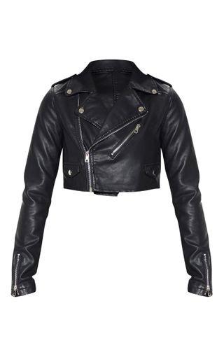Black Cropped Pu Biker Jacket | PrettyLittleThing