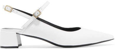 Aerin Embossed Glossed-leather Slingback Pumps - White