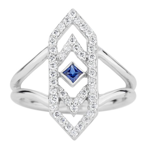 Gianna Ring with Blue Sapphire and Diamonds in 14k White Gold by GiGi Ferranti