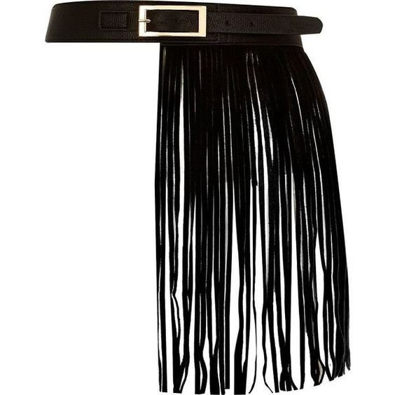 River Island Black leather fringed belt