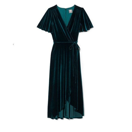 Velvet wrap dress dark green