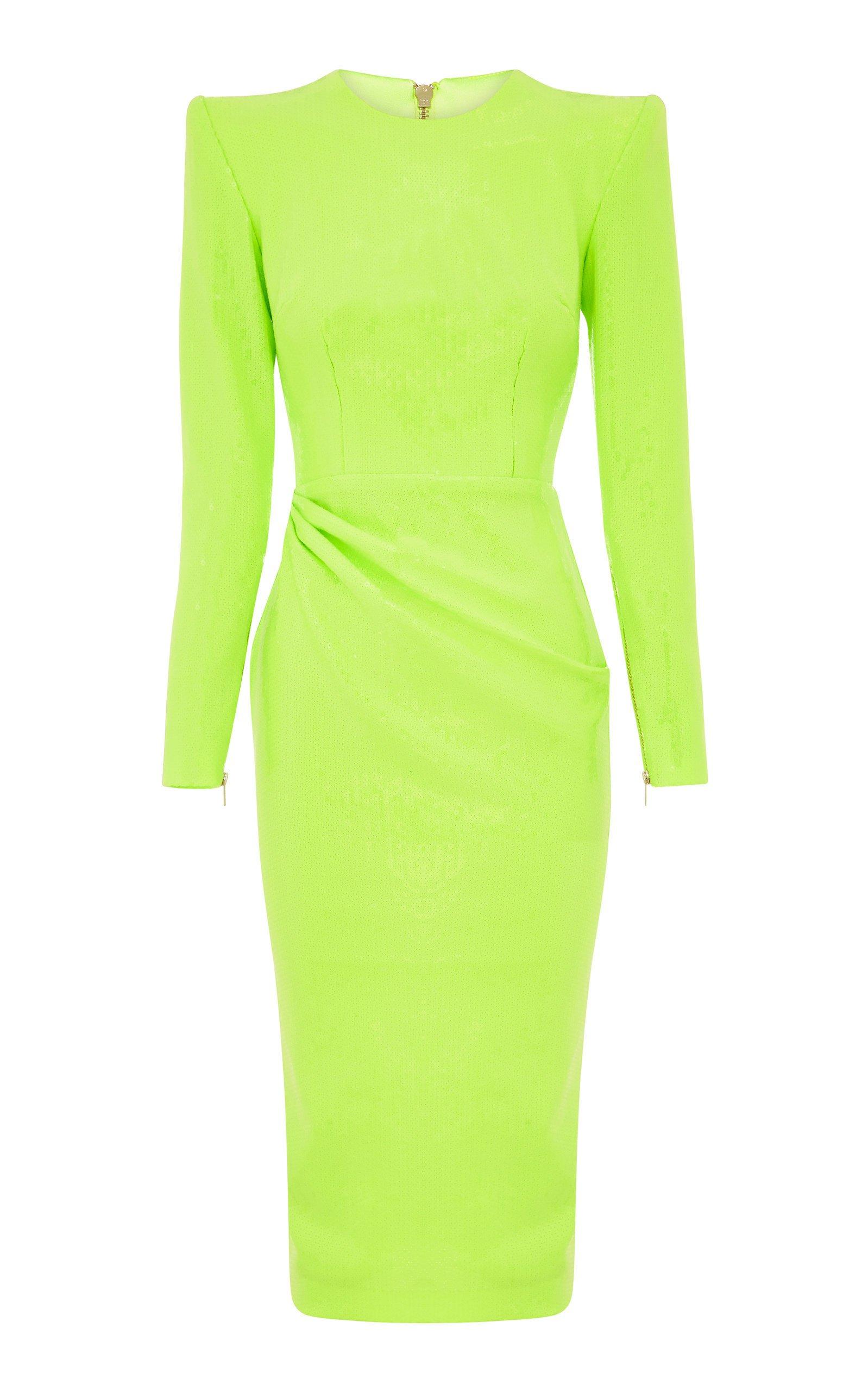 Alex Perry Corbbett Long Sleeve Sequin Dress