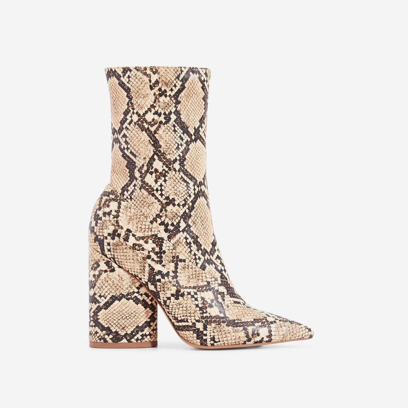 Ameera Block Heel Pointed Ankle Boot In Nude Snake Print Faux Leather | EGO