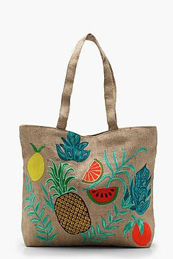 Lilly Embroidery Tropical Beach Bag