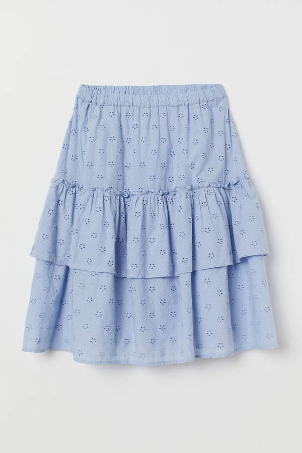 Skirt with Eyelet Embroidery - Blue