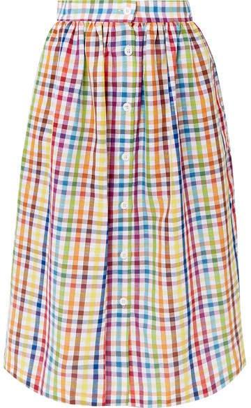 Gingham Cotton Midi Skirt - Yellow