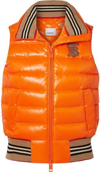 Appliquéd Quilted Shell Down Vest - Orange