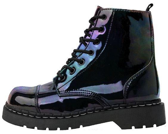 Iridescent Black Vegan Combat Boots