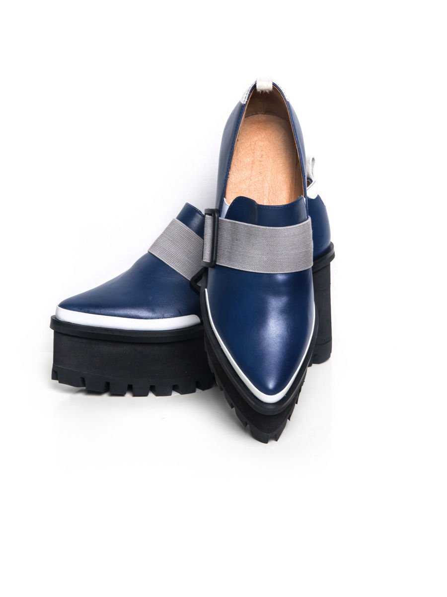 IN STOCK - GEORRIA LEATHER PLATFORM LOAFER (BLUE) - Jamie Wei Huang