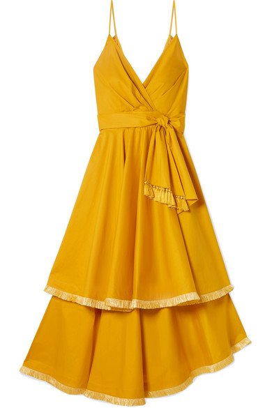 Johanna Ortiz | Ladies Who Lunch tiered fringed cotton-blend poplin midi dress | NET-A-PORTER.COM