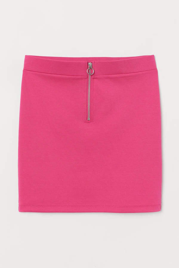 Short Skirt with Zip - Pink