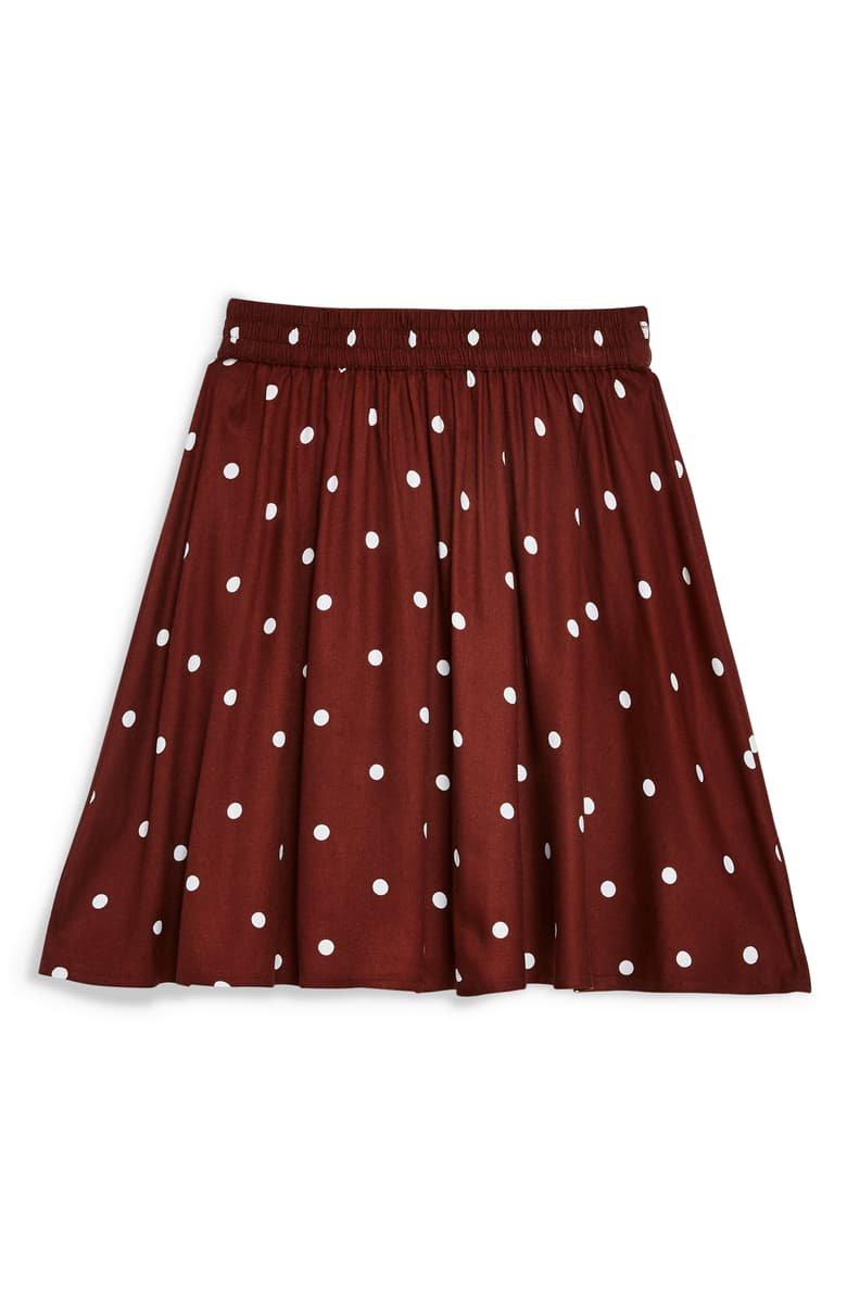 Topshop Spot Print Miniskirt Burgundy