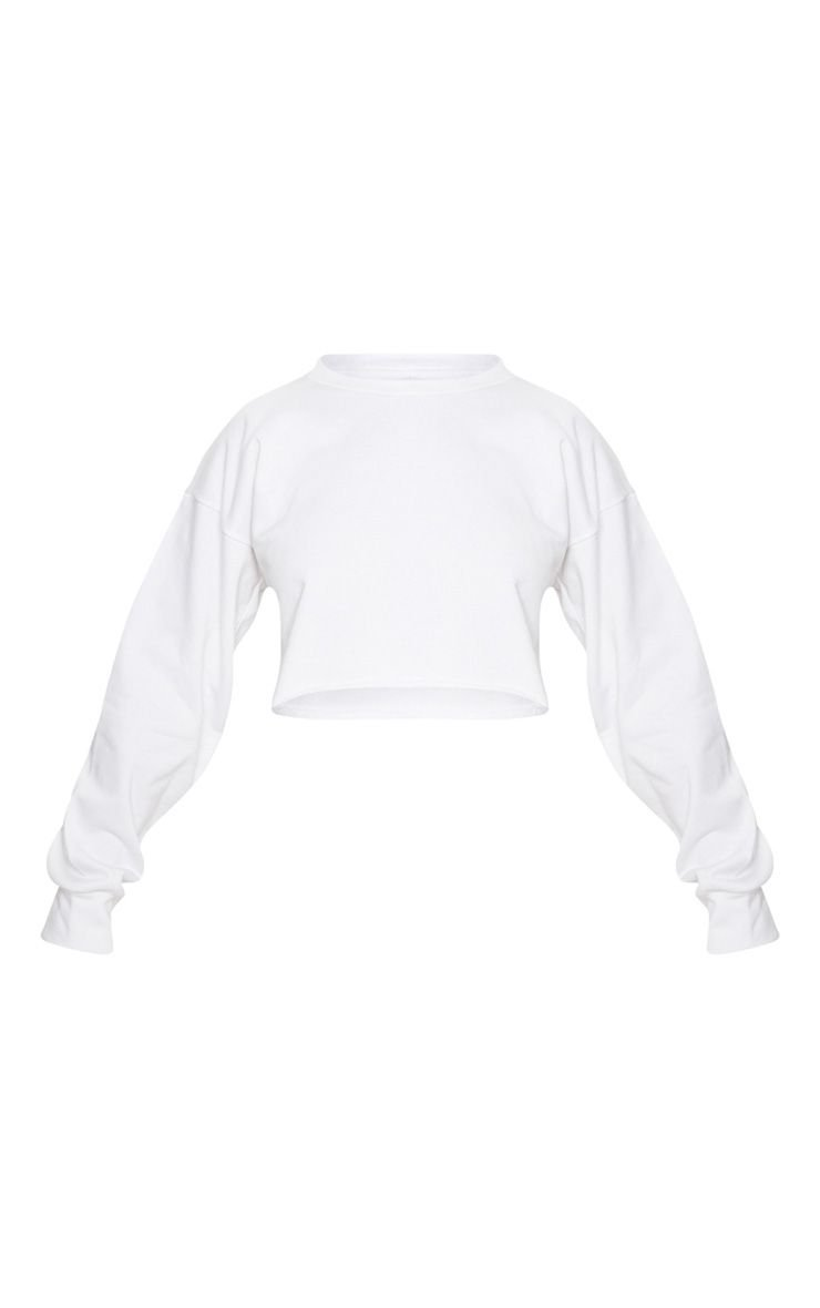Petite White Raw Edge Cropped Sweater   PrettyLittleThing USA