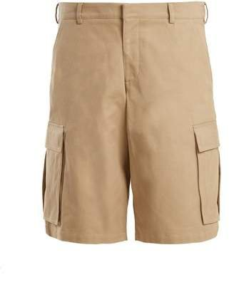 Cargo Pocket Cotton Long Shorts - Womens - Beige