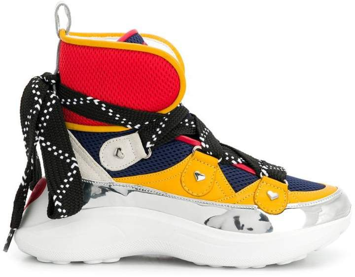 panelled hi-top sneakers