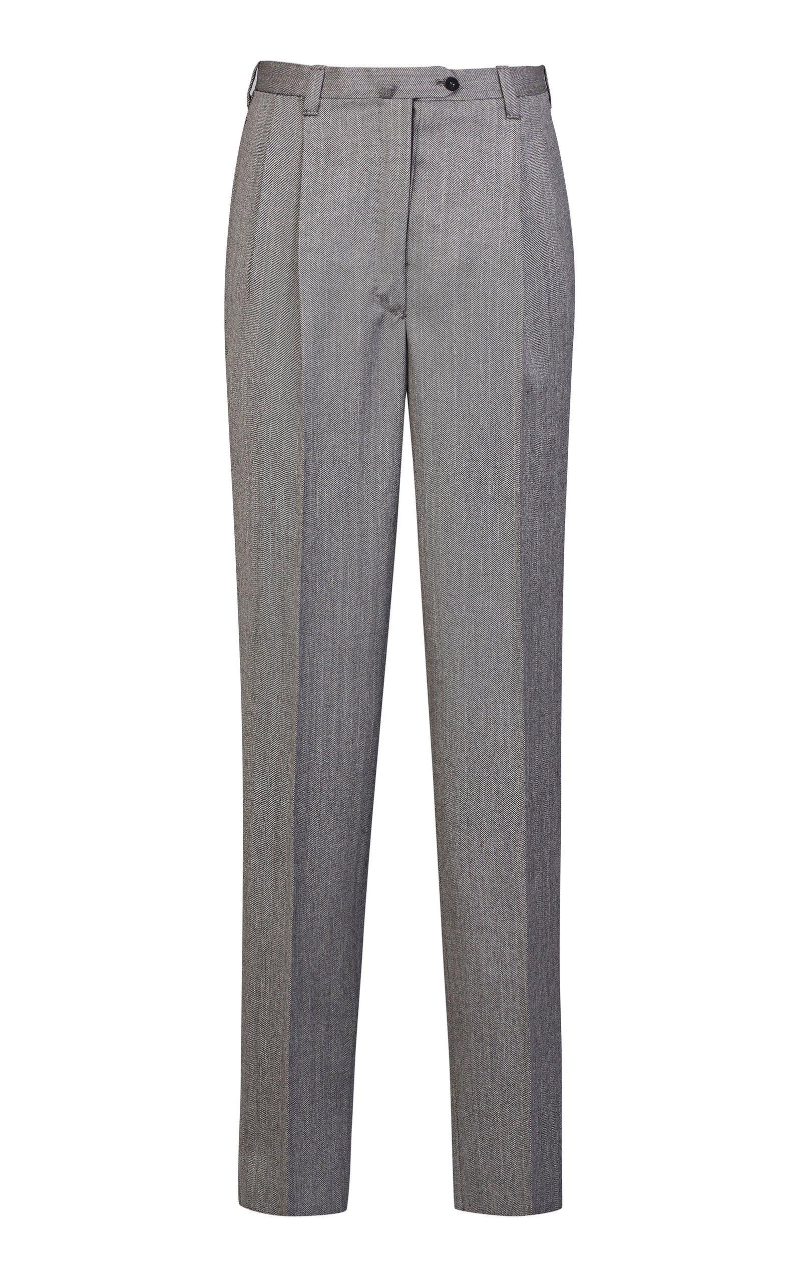Giuliva Heritage Collection Cornelia Tailored Herringbone Wool Straight-Leg Pants
