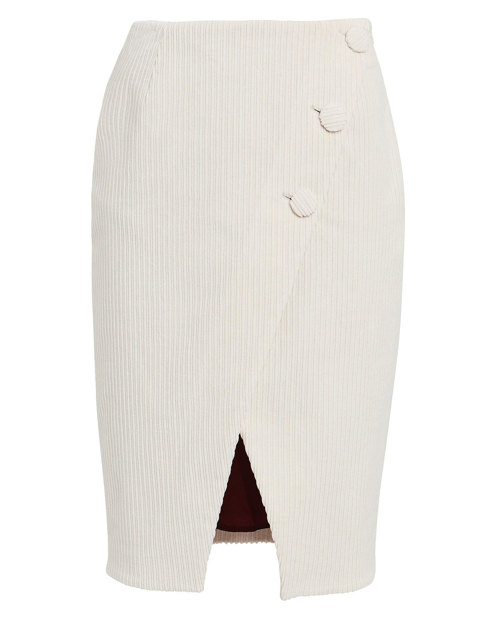 Corduroy Asymmetric Wrap Skirt