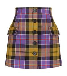 purple yellow checked skirt