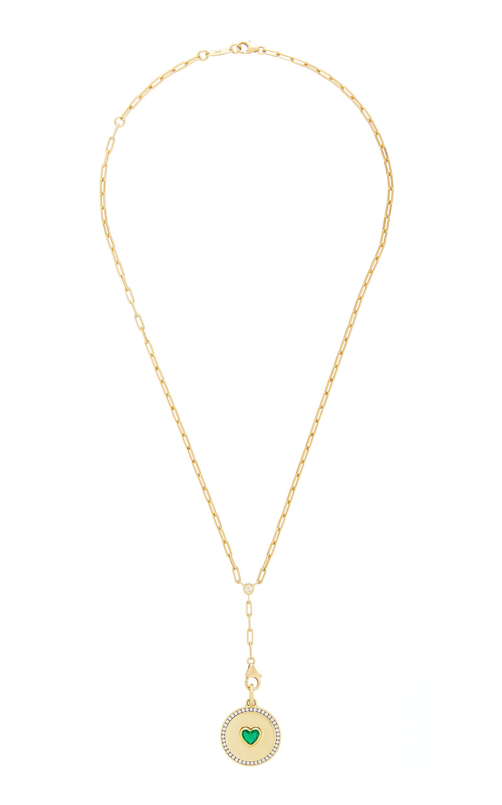 Jemma Wynne 18K Yellow Prive Necklace with Emerald Heart Medallion