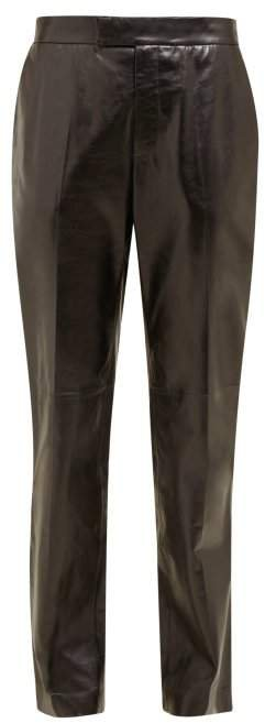 Mid Rise Leather Trousers - Womens - Black