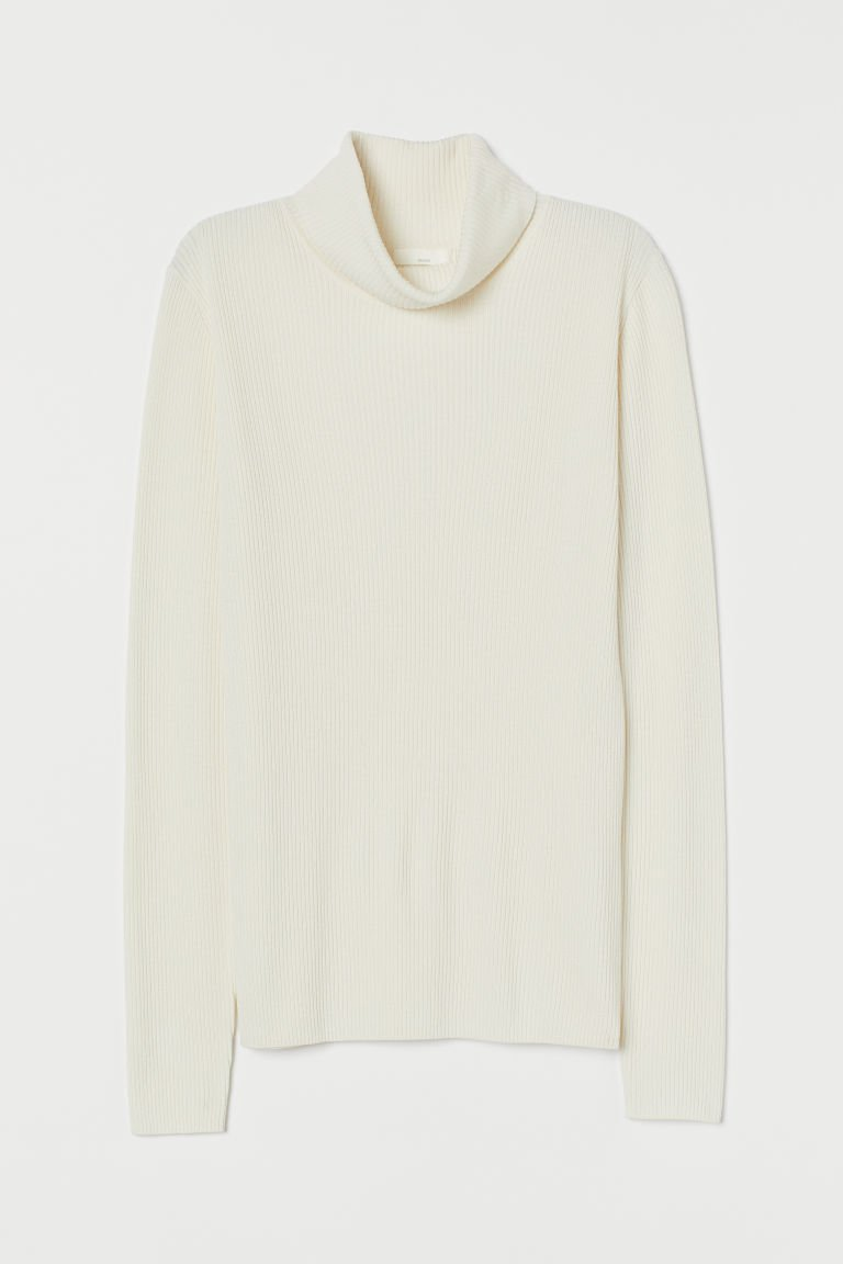 Rib-knit Turtleneck Sweater - Natural white - Ladies | H&M US