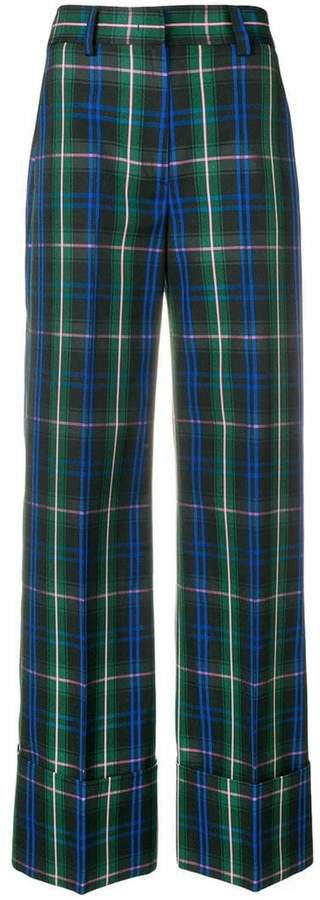 high waisted checked trousers