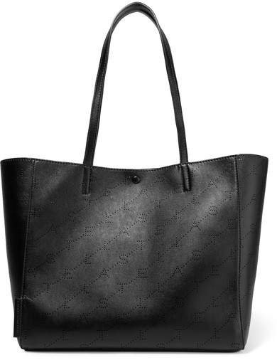 Small Perforated Faux Leather Tote - Black