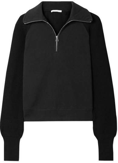 Cotton-terry And Ribbed-knit Sweatshirt - Black