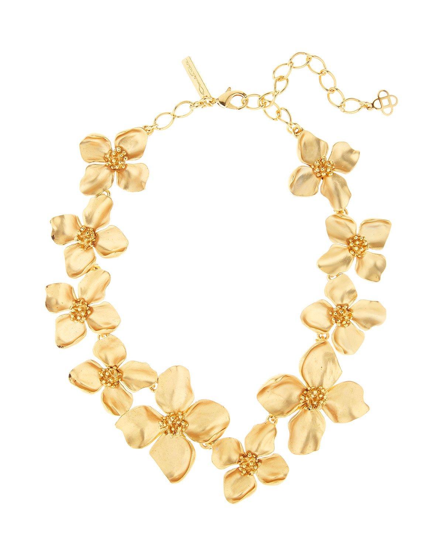 Oscar de la Renta Golden Flower Necklace