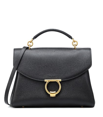 Gancini leather shoulder bag