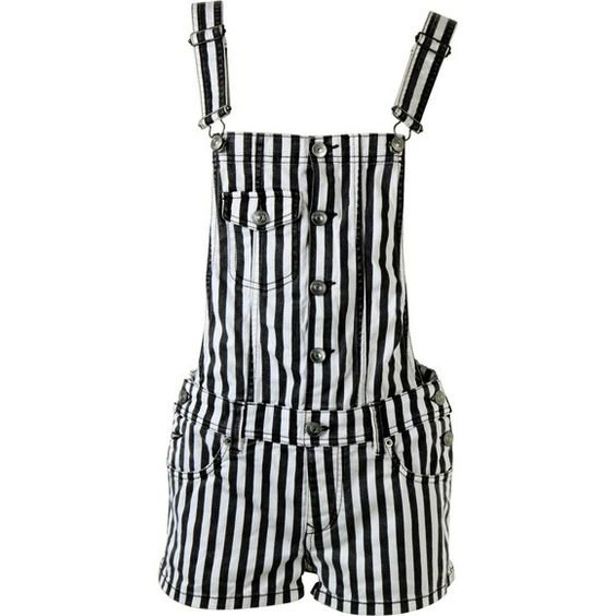 Black And White Striped Overall Shorts