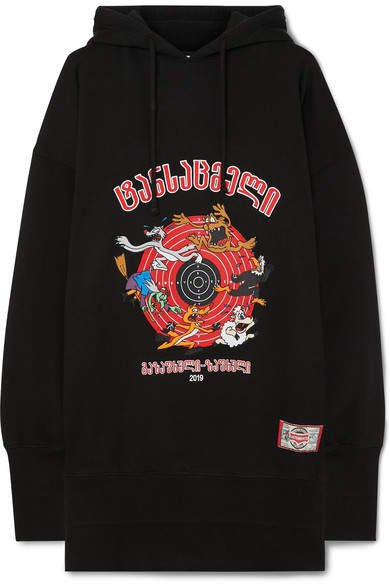 Cartoon Oversized Embroidered Cotton-jersey Hoodie - Black