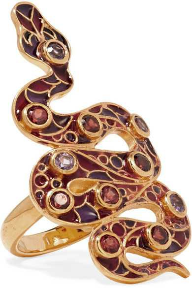 Percossi Papi | 9-karat gold and enamel garnet and amethyst ring | NET-A-PORTER.COM