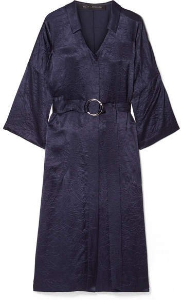 Sally LaPointe - Belted Crinkled Satin-twill Midi Dress - Navy