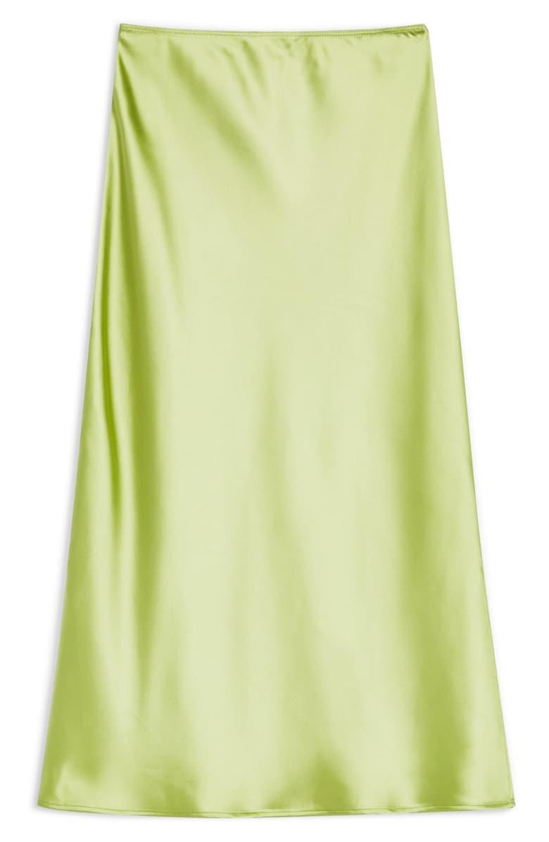 Topshop Split Side Bias Midi Skirt Lime Green