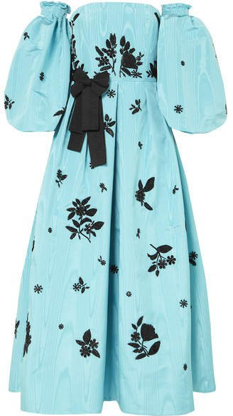 Katelina Embellished Silk-moire Gown - Blue