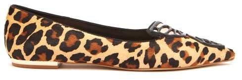 Bibi Butterfly Leopard Print Calf Hair Flats - Womens - Leopard