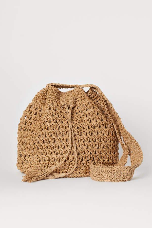 Straw Bucket Bag - Beige