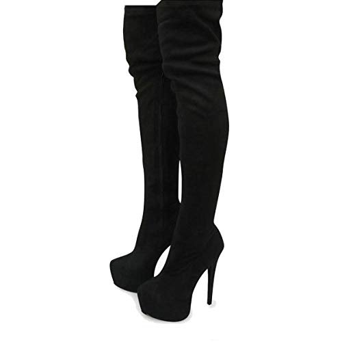 Amazon.com | Fashion Thirsty Womens Mens Unisex Over Knee Thigh High Heel Stretch Faux Leather Suede Boots Shoes Size | Over-the-Knee